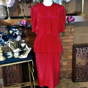 VINTAGE 1980'S RED AND WHITE POLKA-DOT DRESS (14T)
